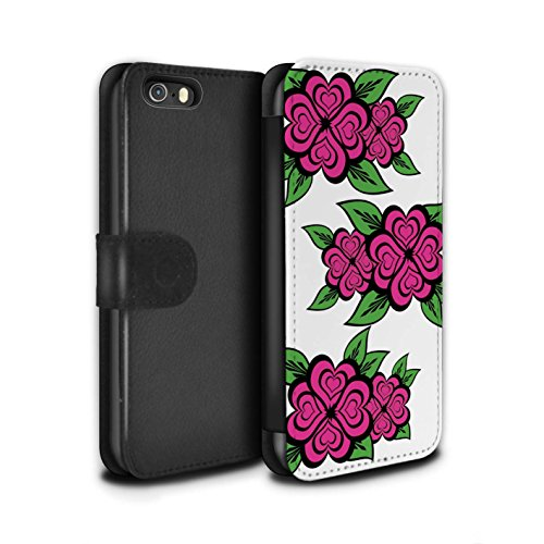 Stuff4 Coque/Etui/Housse Cuir PU Case/Cover pour Apple iPhone SE / Blanc/Turquoise Design / Roses Coeur Amour Collection Blanc/Rose