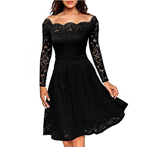 Bekleidung Longra Damen Floraler Spitze kleider Langarm Boot Hals Cocktail formale Swing Kleid für Damen Frühjahr-Sommer abend kleider Black