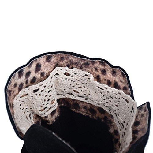 Le signore Taglia larga Scarpe Stivali da neve invernali per ghiacciaio delle donne Cinghie traverse stivali da neve Femmina stivali Black
