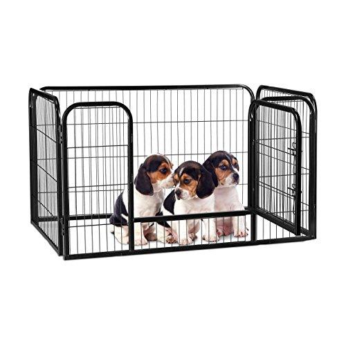 Relaxdays Welpenauslauf, Welpen, kleine Hunde, Kaninchen, Innen, Außen, Metall, Laufstall, HBT 70 x 125 x 80 cm, schwarz