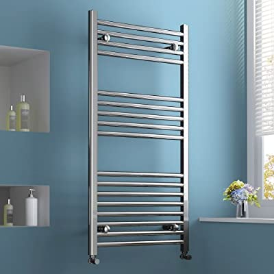 600 x 1200 Heated Towel Rail / Radiator / Warmer - Straight Chrome 2330 BTU's