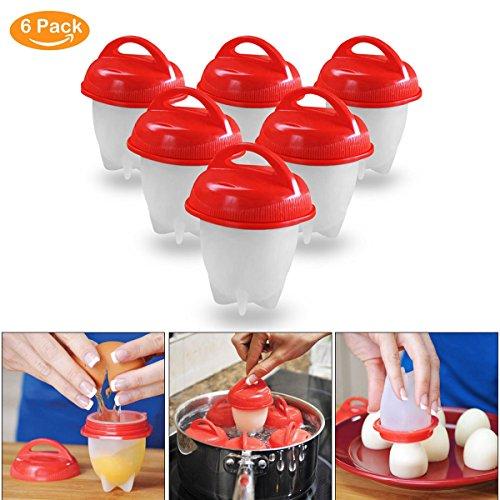 Ledeak Egg Cooker Hervidor de Huevos Silicona Antiadherente, Hard & Soft Maker, Hueveras, Sin cáscara, Hervido, al vapor, Sin BPA, como se ve en la TV (paquete de 6)