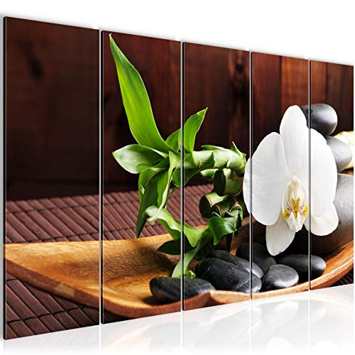 Bilder Feng Shui Orchidee Wandbild 200 x 80 cm Vlies - Leinwand Bild XXL Format Wandbilder Wohnzimmer Wohnung Deko Kunstdrucke Braun 5 Teilig - MADE IN GERMANY - Fertig zum Aufhängen 502355a