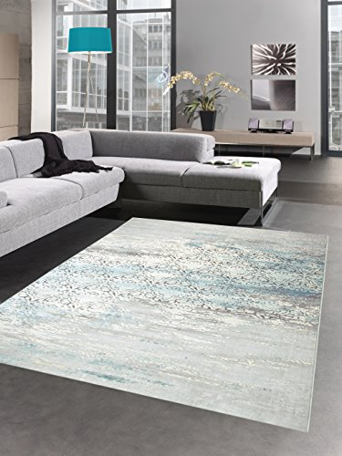 Carpetia Moderner Teppich Antik Vintage Ornamente Grau Creme Türkis Größe 80x150 cm - Creme Läufer Teppich