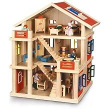 Bayer Chic 2000 293 01 - Puppenhaus 3-stöckig komplett möbliert