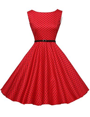 damen vintage retro partykleider polka dots kleid abschlussballkleid petticoat kleid Größe S...