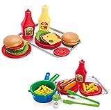 32 tlg Lebensmittel Set für Spielküche Hamburger und Hot Dog mit Zubehör