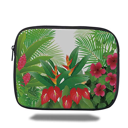 Tablet Bag for Ipad air 2/3/4/mini 9.7 inch,Leaf,Tropical Exotic Forest Hibiscus Red Ginger and Anthurium Flowers,White Dark Green and Hot Pink,3D Print -