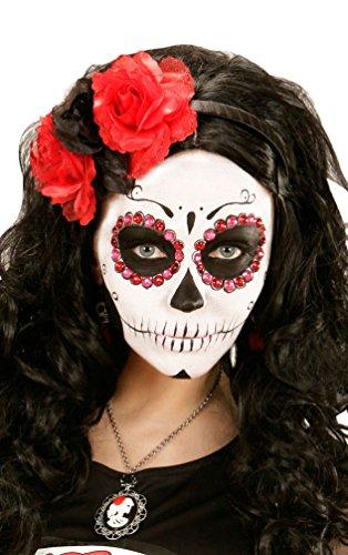 Karneval Klamotten Tag der Toten Haarreif Stirnband Haarschmuck Kopfschmuck Day of the Death Haarreif schwarz rot Halloween (Tag Baby Kostüme Der Toten)