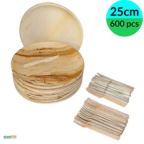 Einweg-Teller mit Bambus-Besteck, Palmenblatt-Motiv, 75-600 Stück, 25-200 runde Teller, 25-200 Holzgabeln, 25-200 Holzmesser), biologisch abbaubar, 200/200/200