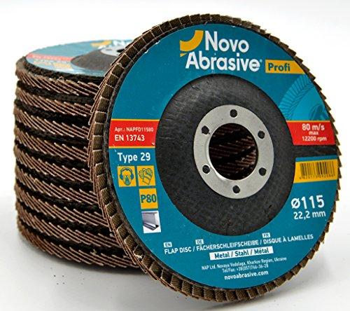 NOVOABRASIVE Disques abrasifs à lamelles 115mm Grain 80. Lot de 10 pièces pour meulage, ponçage alésage MOP