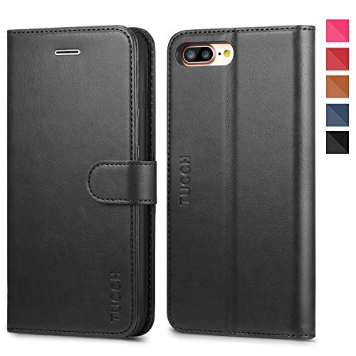 Funda iPhone 8 Plus, TUCCH Funda piel iPhone 7 Plus,[Garantía