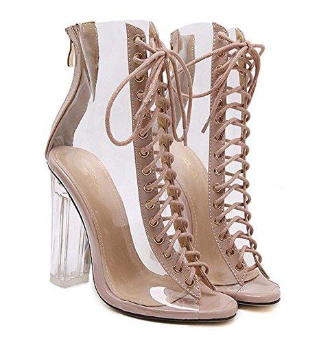 L&Y Donna pompe aperte delle dita dei piedi Sandali di cristallo di Charme Charming Sandali trasparenti merlettano le pompe 35-40 EU Black Clear Pulire