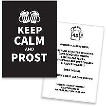 Einladungskarten Geburtstag KEEP CALM   60 Stück   Prost   Inkl. Druck  Ihrer Texte  