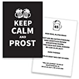 Einladungskarten Geburtstag KEEP CALM | 20 Stück | Prost | Inkl. Druck Ihrer Texte | Einladungskarten zum Geburtstag | Geburtstagskarten | Individuelle Einladungen | Lustige Einladungskarte
