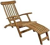 Liegestuhl aus massivem Teakholz Deckchair Gartenliege Liege Teak