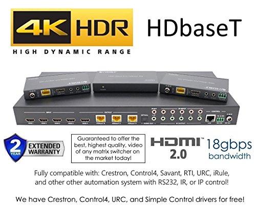 8x 16HDBaseT 4K Matrix Switcher 8x 816x 16mit 8Empfängern (CAT5e Oder Cat6) HDMI HDCP2.2HDTV Routing SPDIF Audio control4Savant Hausautomation 4x4 HDbaseT HDR Matrix 18GBPS - 230ft Av Matrix Switcher