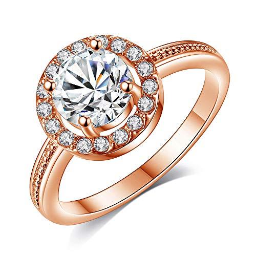 YunYoud Zarte und schöne Diamant besetzt Zirkon weiblichen Ring memoire ring silber zirkonia einzelstein damen edelstahlringe rotgold ringe moderne silberringe schmuck goldringe