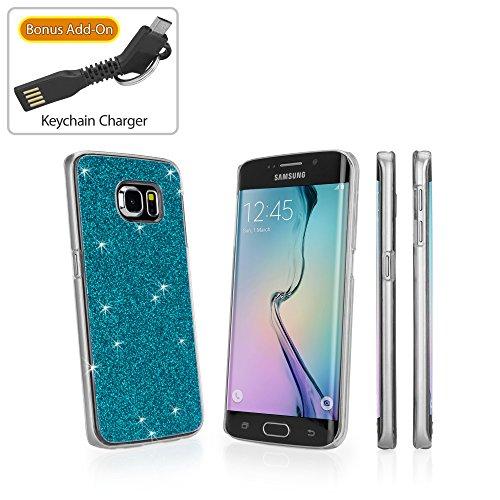 Galaxy S6Edge Fall, BoxWave® [Glitter & Glitz Schutzhülle mit Bonus Schlüsselanhänger Ladegerät] bunt, Glitzer Sony Schutzhülle für Samsung Galaxy S6Edge, Blaugrün - Blue Glimmer Glitter