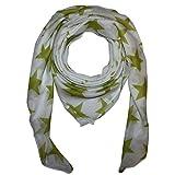 Superfreak Baumwolltuch mit Sterne Muster - Tuch - Schal - 100x100 cm - 100% Baumwolle - Farbe: weiß-grün-hell