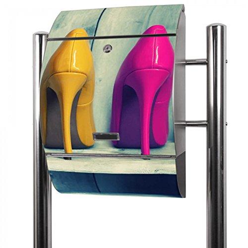 BANJADO Edelstahl Briefkasten groß, Standbriefkasten freistehend 126x53x17cm, Design Briefkasten mit Zeitungsfach Motiv Pumps