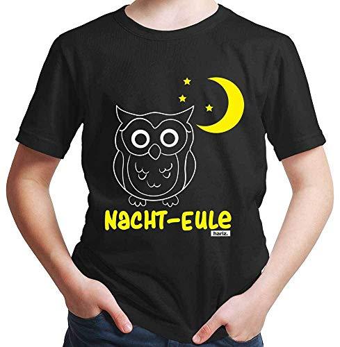 HARIZ Jungen T-Shirt Nacht Eule Tiere Kindergarten Plus Geschenkkarten Schwarz 164/14-15 Jahre (Nacht Eule 2 Kostüm)