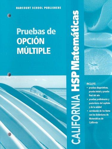 SPA-CA HSP MATEMATICAS P-GRD 3 (Harcourt School Publishers Spanish Math)