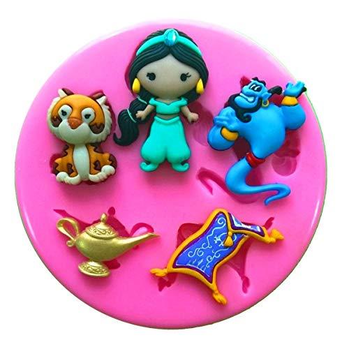 Prinzessin Jasmin Genie Rajah Aladdin Silikonform Form für Kuchen dekorieren KUCHEN, Cupcake Topper Zuckerguss Sugarcraft von Fairie, Blessings (Push-pins Mickey)