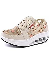 Mujer Zapatos de Deporte Adelgazar Zapatos Sneakers para Caminar Zapatillas  Aptitud Cuña Plataforma Zapatos de Cuero 51c5442dc71c