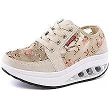 50a6a8d3b41e1 Mujer Zapatos de Deporte Adelgazar Zapatos Sneakers para Caminar Zapatillas  Aptitud Cuña Plataforma Zapatos de Cuero