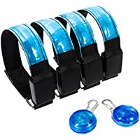 zacro 4pcs LED Sport Armbands, Adjustable High Visibility Armband with 2 Night Lights Clips, LED Bracelet for Running, Cycling, Dog Walking, Mountaineering, Camping and other Outdoor Sport (28-35cm)