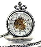 Stayoung Steampunk Antiguo Gris Números Arábigos Cuerda Manual Reloj de Bolsillo Mecánico...