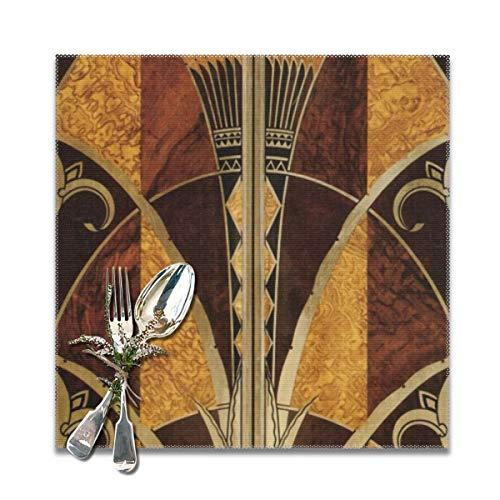 Art Nouveau Art Deco Vintage elegant chic Pattern Gold Wood Black Bronze Silver beige Table Placemats for Dining Table Wipeable Placemats Washable Table mats Heat Resistant Set of 6 -