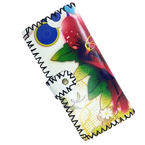 Amoyie Donna Portafoglio Pelle Portamonete portafogli in pelle delle donne portafoglio elegante delle signore di modo della borsa Organizzatore (Breve, Gatto) Lungo, Fiori Rossi