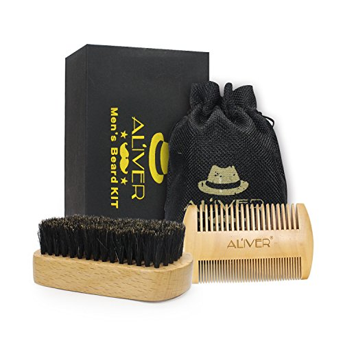 Beard Brush and Beard Comb kit for Men Grooming, Styling & Shaping - Handmade Wooden Comb and Natural Boar Bristle Beard Brush set for Men Beard & Moustache by ()