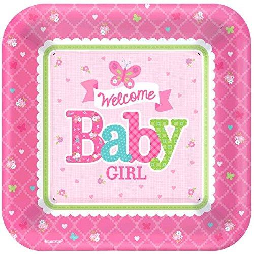 (Amscan 591458Welcome Baby Girl Pappteller Quadratisch 26cm)