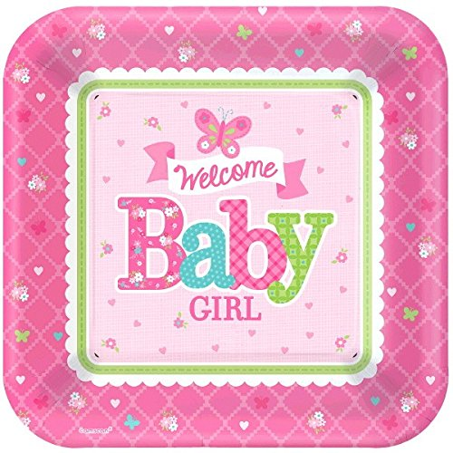 Amscan 591458Welcome Baby Girl Pappteller quadratisch (Bunting Baby Kostüme)