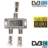Eurosell - Breitband Kabel Verteiler 2-fach TV Weiche für DVB-T und Kabelfernsehen SAT DVBS DVBS2 DVBT DVBC Digital Full HD TV