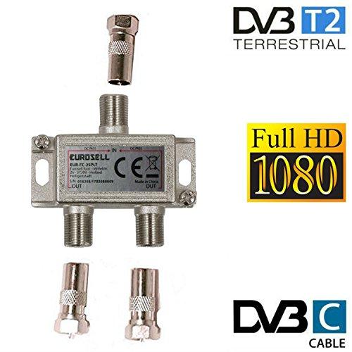 Eurosell - Breitband Kabel Verteiler 2-fach TV Weiche für DVB-T und Kabelfernsehen SAT DVBS DVBS2 DVBT DVBC Digital Full HD TV (Kabel-tv Sat-switch)