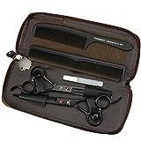 HEMATITE 7 pouces titane noir professionnel ciseaux de coiffure outils de coiffure, ciseaux de coupe et ciseaux éclaircie gratuit belle sacs à main
