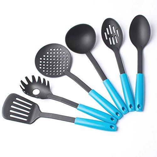 jecxep Confezione da 6utensili cucina, in nylon resistente al calore nylon Sollevare utensili da cucina Set 6 blu