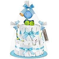 Timfanie® Windeltorte | Ziehente (2-stöckig / baby-blau) vario