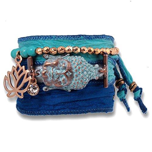 Anisch de la Cara Damen Wickel-Armband Set Buddha of Wisdom indischer Sari Seide Türkis Alaskan Blue, ia-set-a-blue-wisdom (Crystal Gewickelt-anhänger)