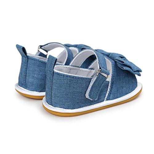 BZLine® Bowknots Casual Sandales à rayure pour Bébé Fille 0~18Mois, Semelle Anti-glissant (12~18, Pink) Bleu