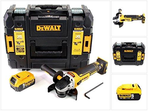 DeWalt DCG 405 18 V 125 mm Brushless Akku Winkelschleifer + 1 x 5 Ah Akku im TStak Werkzeugkoffer (Dewalt 18v Schleifer)