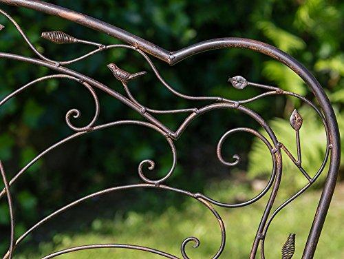 Nostalgische Gartenbank Vogel Eisen Metall Bank Nostalgie antik Stil Vögel - 3
