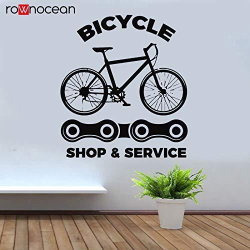 57x64 cm Fahrrad Shop Wandtattoo Bike Repair Service Kette Fenster Aufkleber Vinyl Innendekoration Haus Removable Tapete Marke