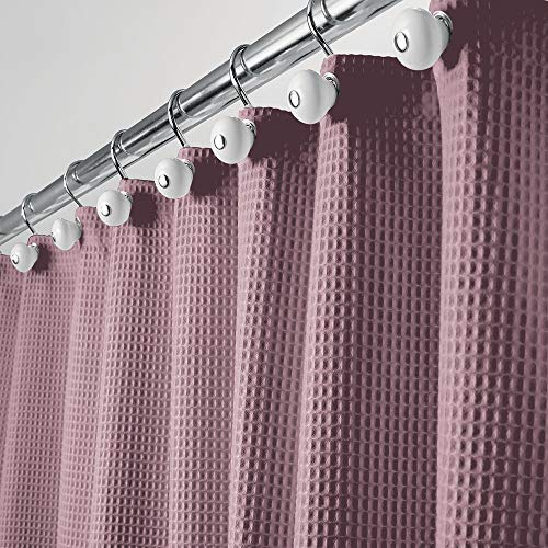 mDesign Duschvorhang - weicher Badewannenvorhang mit Waffelmuster - pflegeleichter Duschvorhang - violett - Duschvorhang Lila