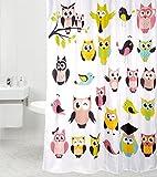 Duschvorhang Owl 180 x 200 cm, hochwertige Qualität, 100% Polyester, wasserdicht, Anti-Schimmel-Effekt, inkl. 12 Duschvorhangringe