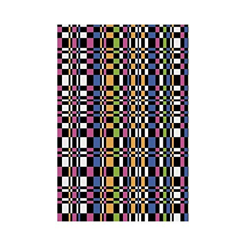 gthytjhv Colorful Abstract Checkered Pattern Geometric Optical Artwork Psychedelic Striped Mosaic House Garden Family Event Decoration